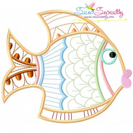 Magic Fish-05 Embroidery Design Pattern- Category- Redwork And Vintage Designs- 1