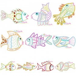 Magic Fishes Embroidery Design Bundle