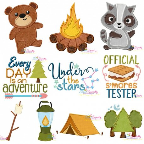 Camping Embroidery Design Bundle