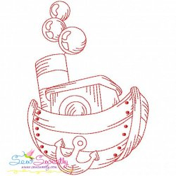 Redwork Fishing Boat-5 Embroidery Design