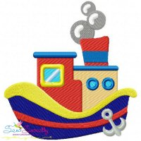 Colorful Fishing Boat-4 Embroidery Design