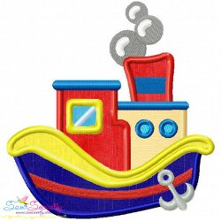 Colorful Fishing Boat-4 Applique Design