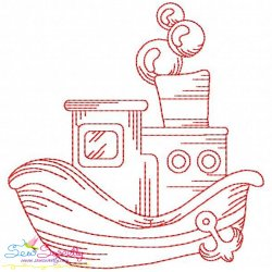 Redwork Fishing Boat-4 Embroidery Design