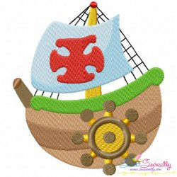 Colorful Fishing Boat-3 Embroidery Design
