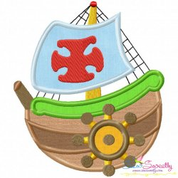 Colorful Fishing Boat-3 Applique Design