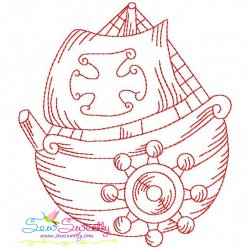 Redwork Fishing Boat-3 Embroidery Design