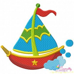 Colorful Fishing Boat-2 Embroidery Design