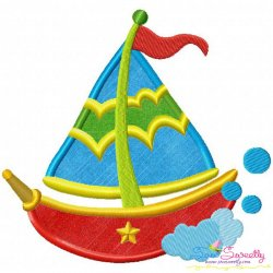 Colorful Fishing Boat-2 Applique Design