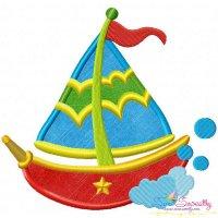 Colorful Fishing Boat-2 Applique Design