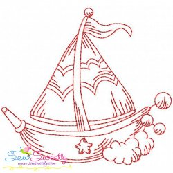 Redwork Fishing Boat-2 Embroidery Design