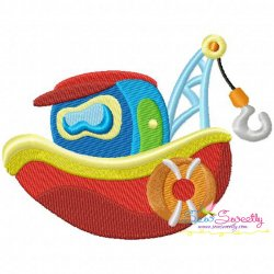 Colorful Fishing Boat-1 Embroidery Design