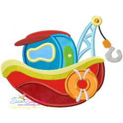 Colorful Fishing Boat-1 Applique Design