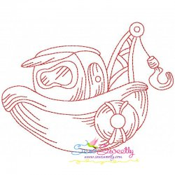 Redwork Fishing Boat-1 Embroidery Design