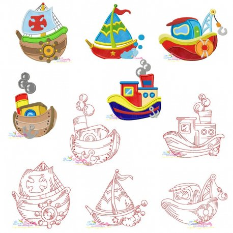 Colorful And Redwork Fishing Boats Embroidery Design Bundle