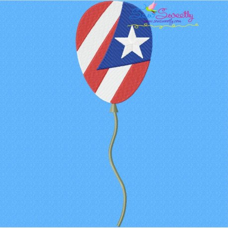 4th of July Balloon-2 Embroidery Design