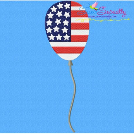 4th of July Balloon-1 Embroidery Design