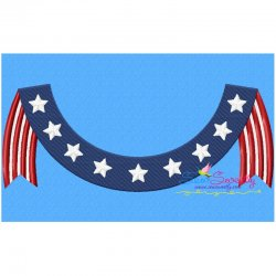 4th of July Banner Patriotic Embroidery Design