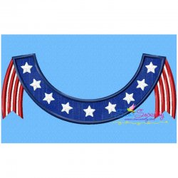 4th of July Banner Patriotic Applique Design