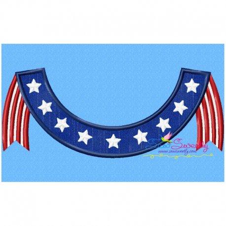 4th of July Banner Applique Design
