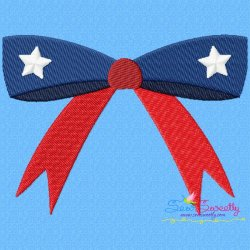 4th of July Bow Patriotic Embroidery Design