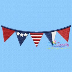 4th of July Buntings Patriotic Embroidery Design