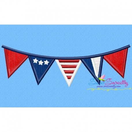 4th of July Buntings Patriotic Applique Design Pattern- Category- 4th of July Designs- 1