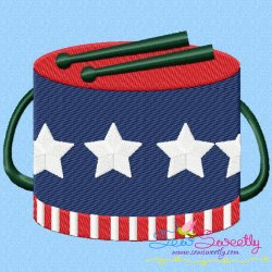 4th of July Drum Patriotic Embroidery Design