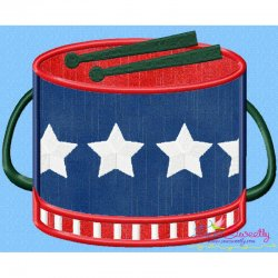 4th of July Drum Patriotic Applique Design