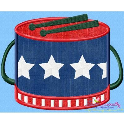 4th of July Drum Patriotic Applique Design