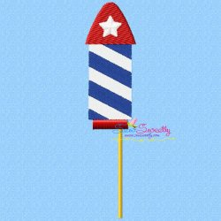 4th of July Rocket-2 Patriotic Embroidery Design