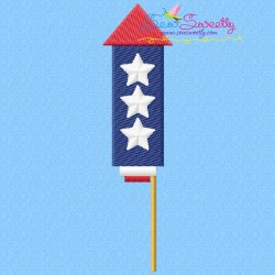 4th of July Rocket-1 Patriotic Embroidery Design