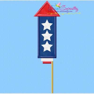 4th of July Rocket-1 Patriotic Applique Design
