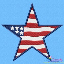4th of July Star Patriotic Embroidery Design