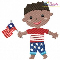 4th of July Boy-2 Patriotic Embroidery Design