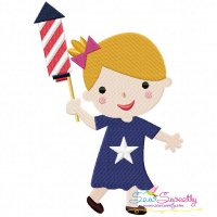 4th of July Girl-1 Patriotic Embroidery Design