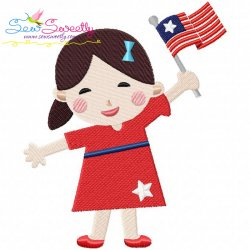 4th of July Girl-2 Patriotic Embroidery Design