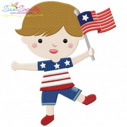 4th of July Boy-3 Patriotic Embroidery Design