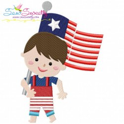 4th of July Boy-4 Patriotic Embroidery Design
