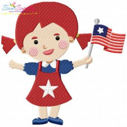 4th of July Girl-3 Patriotic Embroidery Design