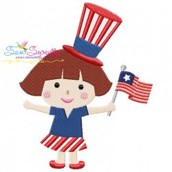 4th of July Girl-4 Patriotic Embroidery Design