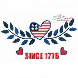 4th of July Heart Patriotic Embroidery Design