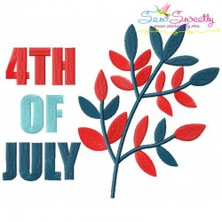 4th of July Leaves Patriotic Embroidery Design