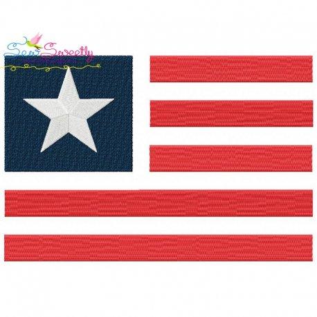 American Flag-2 Patriotic Embroidery Design
