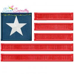 American Flag-2 Patriotic Applique Design