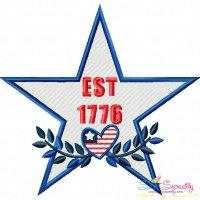 4th of July Star-2 Patriotic Embroidery Design