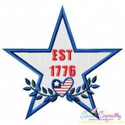 4th of July Star-2 Patriotic Applique Design