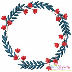 4th of July Floral Frame-4 Patriotic Embroidery Design