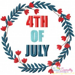 4th of July Floral Frame-3 Patriotic Embroidery Design