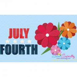 4th of July Flowers Patriotic Embroidery Design