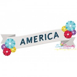 4th of July Ribbon-2 Patriotic Embroidery Design